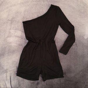 Pants - Black, One Arm, Romper